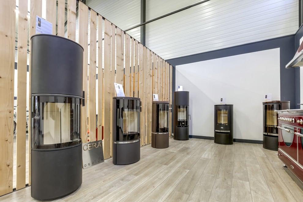 Vue intérieure sur des poêles a bois Cera Design